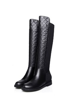 Black Leather Quilted Over The Knee OTK Fleece Lined Flat Boots