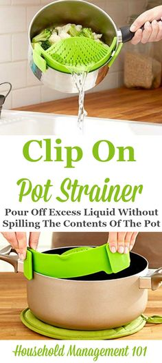 Now you can pour off water from your cooking pot, and not spill out the contents of the food, like the pasta or vegetables you're cooking, using a snap on pot strainer. How cool!