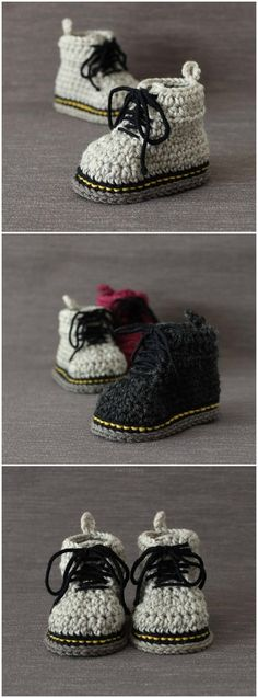 I LOVE this crochet pattern for Doc Marten baby shoes! This booties can be made for boys, girls, newborns . Crochet Baby Boots, Crochet Shoes, Cute Crochet, Crochet For Kids, Crochet Yarn, Crotchet, Newborn Crochet Patterns, Baby Boy Knitting Patterns, Baby Patterns