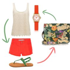 There's nothing we don't love about this summery outfit - the floral & coral combo pairs great with the lace top!
