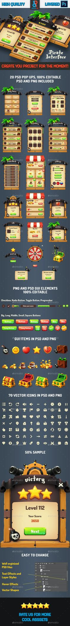 Pirate Wood Game GUI by Master_Key | GraphicRiver Daily Rewards, Game Gui, Wood Games, Coin Shop, Game Concept, Game Assets, Retina Display, Arcade, Pirates