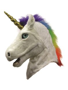 Check out Unicorn Adult Mask with Moving Mouth | Wholesale Halloween Costumes from Wholesale Halloween Costumes