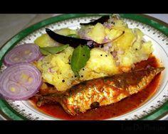 Tapioca (kappa puzhukku), red hot burning fish curry - standard food in Kerala's toddy shops (India)