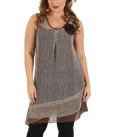 Look what I found on #zulily! Brown Semisheer Sleeveless Tunic - Plus by Lily #zulilyfinds