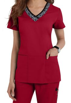 This Grey's Anatomy V-Neck Leopard trim scrub top in NEW Hot Tamale is perfect for Fall and Winter, adding the perfect amount of attitude and femininity to this classic cut top! | Scrubs & Beyond