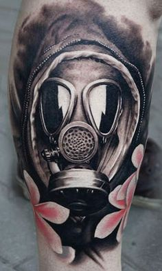 "Tattoo Artist - A.d. Pancho - mask tattoo Make it a little boy from the 1940's/60's wearing a gas mask and asking ""are you my mummy"". Freak out whovians everyday"