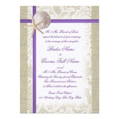How to Purple Beach Burlap and Vintage Lace Wedding 5.5x7.5 Paper Invitation Card In our offer link above you will see