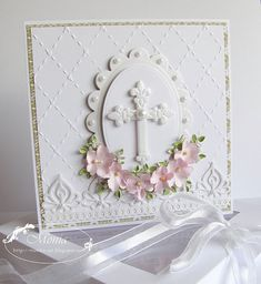 handmade cross card from My paper land: Challenge No. 5 Rapakivi ... pearlescent paper ... die cut cross and ovals ... pearls ... shaped pink flowers ... embossing folder texture ... gorgeous!