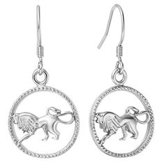 YLR White Gold Plated Women Jewelry Raging Lion Dangle Earring Shiny Loop Drop Earrings *** To view further for this item, visit the image link. Note:It is Affiliate Link to Amazon.