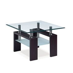 Global Furniture Square Black And White High Gloss End Table With