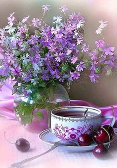 26 Ideas For Quotes Nature Beauty Night Purple Flowers, Pretty In Pink, Beautiful Flowers, Coffee Time, Tea Time, Beauty Night, Afternoon Tea Parties, All Things Purple, Nature Quotes