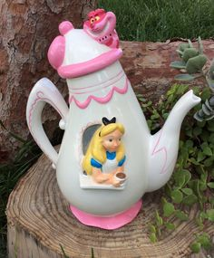 Alice in Wonderland Party Decorations Alice and Cheshire Cat TeaPot Cookie Jar Tea Party Prop Mad Hatter Onederland Birthday