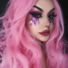 Fashion Pastel Pink Synthetic Lace Front Wig with Pink Lace men toupee women toupee Clown Makeup, Pink Makeup, Goth Makeup, Makeup Art, Eye Makeup, Synthetic Lace Front Wigs, Synthetic Wigs, Cotton Candy Makeup, Hallowen Ideas
