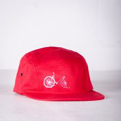 BIKE WRECK Bicycle embroidered 5 Panel Cap White on Red by vital (Accessories, Hats & Caps, men, women, embroidery, bike, bicycle, cycling, jockey cap, baseball cap, hat, gifts for men, mens accessories, vital industries, military green)