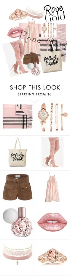 """""""Sassy and Classy, Rose Gold Fashion"""" by ecinueunice ❤ liked on Polyvore featuring Burberry, Anne Klein, Frame, Calypso St. Barth, Lime Crime and Charlotte Russe"""