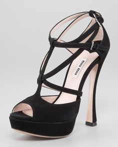 Crisscross Strappy Ankle-Wrap Sandal by Miu Miu at Neiman Marcus.