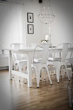 white dining table and tolix style chairs - another view