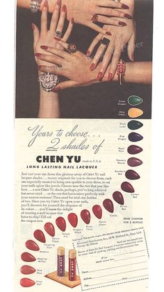 Chen Yu - Vintage Nail Polish Ad - Nail Laquer - Vintage Advertisement - Vintage Jewelry - 1940's - Hand Model - Vintage Photo by SunshineBooks on Etsy https://www.etsy.com/listing/242649377/chen-yu-vintage-nail-polish-ad-nail
