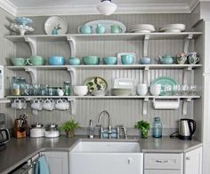 Using corbels and beadboard from the lumberyard, and shelves from another project, this reader created open shelving in her kitchen and a stunning display for her collection of turquoise and white dishware.