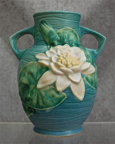 Roseville Pottery Water Lily Vase #77-8, Ciel Blue, Ca. 1943
