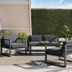 Mercury Row Mirando 4 Piece Sofa Seating Group with Cushions Contemporary Outdoor Sofas, Modern Outdoor Furniture, Modern Patio, Contemporary Garden, Wooden Furniture, Backyard Furniture, Modern Exterior, Outdoor Sofa Sets, Outdoor Seating