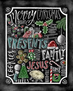 ♥ Christmas Word Collage ♥ ♥ L I S T I N G ♥ Each image is originally hand drawn with chalk and converted digitally. Chalkboard prints maintain the