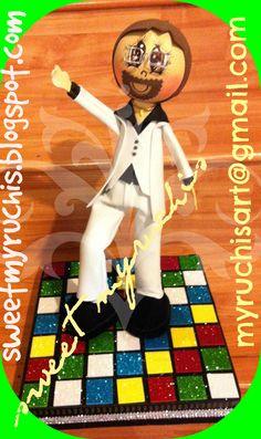 Fiesta Disco, Fiesta 70s, Decoración Fiesta Disco, Centros de mesa para Fiesta sweetmyruchis.blogspot.com