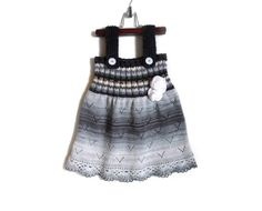 Knitted Girl Tunic Dress  Black and White 4  5 by SasasHandcrafts