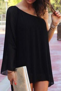Black Chiffon Oblique Shoulder Long Sleeve Dress BLACK: Chiffon Dresses | ZAFUL