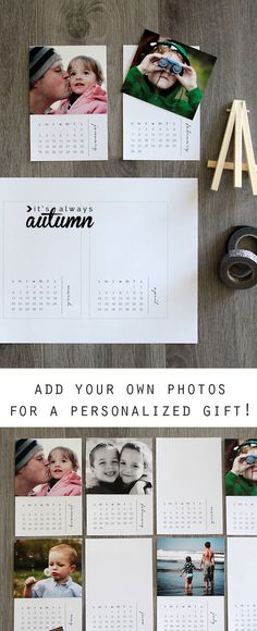 Free printable 2016 mini photo calendar - personalize it with your own photos for an easy, inexpensive handmade Christmas gift idea! Perfect for Dads or Grandparents. This would work as a mini desk calendar, or hang all 12 months for a pretty DIY wall calendar.