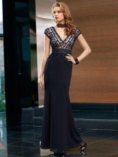 Sheath/Column+V-neck+Sleeveless+Chiffon+Evening+Dresses+With+Lace+#FN338