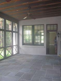 Screen porch - X railing design and slate floor