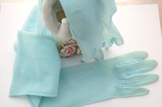 Vintage 50s Gloves  - sky blue sheer nylon long gloves Exquisite Burlesque accessory