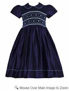 Anavini Girls Navy Blue Silk Smocked Bodice Susan Collar Dress