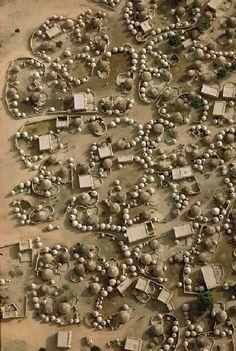 Africa | Aerial view of Labbezanga near the Mali-Niger border. 1972 | ©Georg Gerster