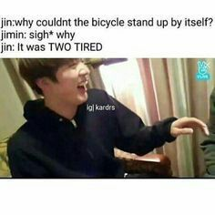 Our Jin is known for his dad jokes. And who doesn't love dad jokes when jin tells them Jikook, K Pop, Jin Dad Jokes, Mum Jokes, Cypher Pt 4, Bts Memes Hilarious, Funny Shit, Funny Stuff, Bts Jin
