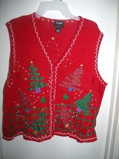 Designers Originals Studio Joy Red Trees Sequins Christmas Sweater Vest XL Ugly #DesignersOriginals #VestSleeveless #Christmas