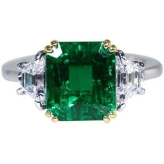 Preowned 3.33 Carat Colombian Emerald And Diamond Ring By A. Aletto ($54,000) ❤ liked on Polyvore featuring jewelry, rings, green, emerald cut ring, emerald diamond ring, 18k diamond ring, emerald green jewelry and enhancer ring