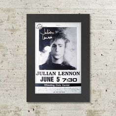 Julian Lennon Live 1986 Framed Concert Sheet by MVS by Innerwallz