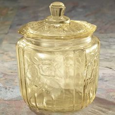 Antique Yellow Glass Biscuit Jar
