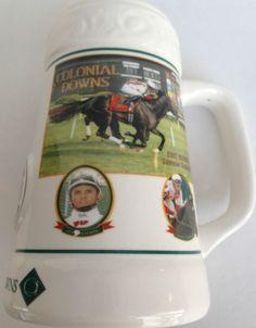 RARE 2008 COLONIAL DOWNS TURF CUP HORSE RACING CERAMIC BEER STEIN MINT JULEP MUG