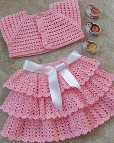 Oscilación del bebé Chaqueta//Vestido de cuello y 0-18 mths 4 capas Tejer patrón