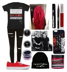 """""""tøp band tee"""" by neverlandcth ❤ liked on Polyvore featuring Medusa's Makeup, Vans, Stila and CARGO"""
