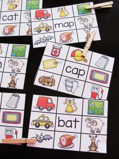 FREE Short A clip cards where students read the word and clip a clothespin onto the picture it is - great back to school reading center FREE Kindergarten Centers, Kindergarten Reading, Literacy Centers, Teaching Reading, Reading Practice, Kindergarten Worksheets, Guided Reading, Short A Activities, Phonics Activities