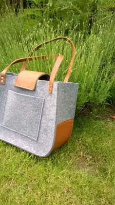 Felt and leather bag Grey felt tote bag Tote big от feltallovercom