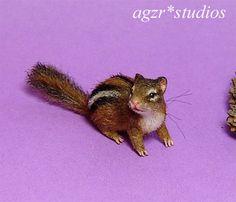 OOAK 1:12 Dollhouse Miniature Chipmunk Squirrel Pet Furred Handmade Realistic