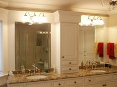 White Wooden Bathroom Cabinet Using Brown Marble Granite Counter Top Plus Mirror With Light With Bathroom Lights Over Mirror  Also Unique Bathroom Vanity Lights