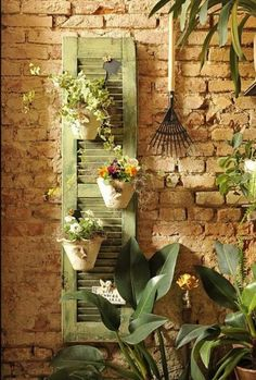 Upcycled: New Ways With Old Window Shutters - lots and lots of ideas.now on the hunt for old shutters! Dream Garden, Garden Art, Home And Garden, Herb Garden, Garden Walls, Backyard Planters, Porch Planter, Planter Garden, Brick Garden