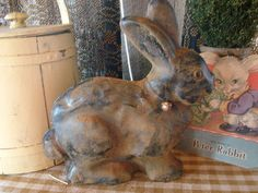 Primitive Blackened Wax Easter bunny Shelf Sitter by oldgoatprims, $10.00