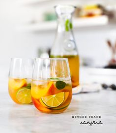 Ginger Peach Sangria *White wine *Grand marnier *Peaches *Ginger juice or ginger *Lemon or lime *Mint &/or basil Sweet Cocktails, Cocktail Drinks, Cocktail Recipes, Alcoholic Drinks, Beverages, Drinks Alcohol, Alcohol Recipes, Craft Cocktails, Drink Recipes